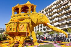 Art made of lemons and oranges in the famous Lemon Festival Fete du Citron in Menton, France. The famous fruit garden receives 230,000 visitors a year stock photography