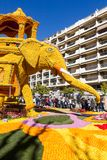 Art made of lemons and oranges in the famous Lemon Festival Fete du Citron in Menton, France Stock Photography