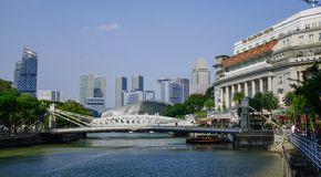 Famous Fullerton Hotel with riverscene stock image