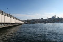 Famous Galata Bridge, Golden Horn and Suleymaniye Mosque in Istanbul, Turkey Stock Image