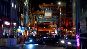 The famous Gate of London Chinatown at night - LONDON, ENGLAND - DECEMBER 10, 2019