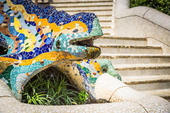 Famous Gaudi lizard in park Guell, Barcelona, Spain Stock Images