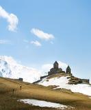 Famous Georgian Mountains church Royalty Free Stock Photo