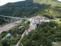 Famous georgian sightseeing - Aerial view to Ananuri castle complex. On the Aragvi River in Georgia royalty free stock photo
