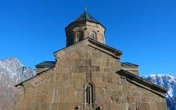 Free Famous Gergeti Trinity Church Under Mount Kazbek In Winter. Georgia Stock Photo - 172654520
