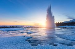 Famous Geysir In Iceland In Beautiful Sunset Light Royalty Free Stock Photos