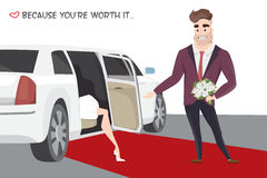 Famous girl out of limo on red carpet. Stock Images