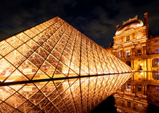 The famous glass pyramid at the Louvre in Paris Stock Images