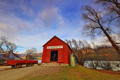 The Famous Glenorchy Red Shack Queenstown royalty free stock photo