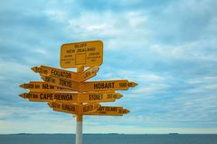 Famous global signpost at Bluff, southernmost point on the mainland of New Zealand.  stock image