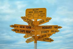 Famous global signpost at Bluff, southernmost point on the mainland of New Zealand.  stock photos