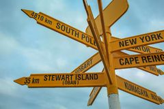 Famous global signpost at Bluff, southernmost point on the mainland of New Zealand.  royalty free stock photography