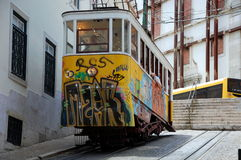 Famous  Gloria funicular in Lisbon Royalty Free Stock Image