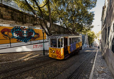 Famous Gloria funicular in Lissabon Stock Images