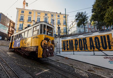 Famous Gloria funicular in Lissabon Stock Image