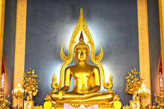 The famous Golden Buddha image in Wat Benchamabophit Stock Photo