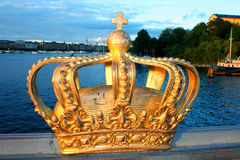 Famous Golden Crown In Stockholm, Sweden Stock Photos
