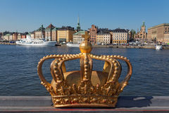 Famous Golden Crown In Stockholm, Sweden Royalty Free Stock Photos