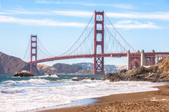 Famous Golden Gate Bridge from Baker Beach, San Francisco, California USA. Famous Golden Gate Bridge from Baker Beach, San Francisco, California Royalty Free Stock Photography