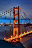 Famous Golden Gate Bridge by night Stock Photo