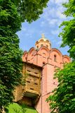 A famous Golden Gates in Kiev over blue cloudy sky in sunny weather royalty free stock photos