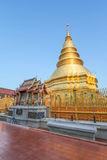 A famous golden pagoda in northern of Thailand Royalty Free Stock Photo
