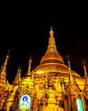 The famous golden pagoda Shwedagon at night, Yangon, Myanmar 6 Stock Images