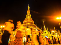 The famous golden pagoda Shwedagon at night, Yangon, Myanmar 3 Royalty Free Stock Images