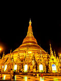The famous golden pagoda Shwedagon at night, Yangon, Myanmar 4 Stock Photos