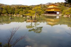 The famous Golden Pavilion Kinkakuji Temple Stock Image