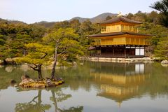 The famous Golden Pavilion Kinkakuji Temple Stock Images