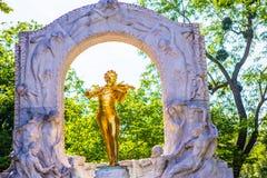 Golden statue of Johann Strauss, Vienna Royalty Free Stock Photo
