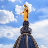 Famous Golden Statue of Virgin Mary Stock Image