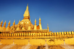 The famous golden stupa of Phra That Luang Royalty Free Stock Photography