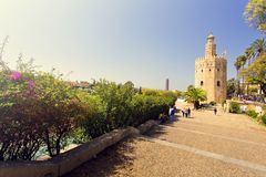 The famous Torre del Oro, the Moorish tower built to defend Sevill. The famous Golden tower, Torre del Oro, along the Guadalquivir river, the Moorish tower built stock photo