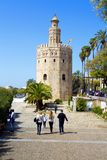 The famous Torre del Oro, the Moorish tower built to defend Sevill. The famous Golden tower, Torre del Oro, along the Guadalquivir river, the Moorish tower built royalty free stock images