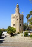 The famous Torre del Oro, the Moorish tower built to defend Sevi. The famous Golden tower, Torre del Oro, along the Guadalquivir river, the Moorish tower built Royalty Free Stock Image