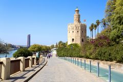 The famous Torre del Oro, the Moorish tower built to defend Sevill. The famous Golden tower, Torre del Oro, along the Guadalquivir river, the Moorish tower built stock image