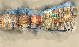 Famous Gondola service in the canals of Venice Royalty Free Stock Photo