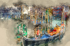 Famous Gondola service in the canals of Venice Stock Photo