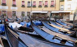 Gondolas of Venice in italy. The famous gondolas of Venice in italy Stock Photos