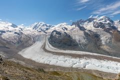 The famous Gorner Glacier in HDR, second largest glacier in the Stock Image