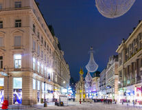 Famous Graben street at night Stock Photos