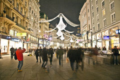 Famous Graben street by night Stock Photos