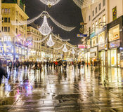 Famous Graben street by night Royalty Free Stock Photos
