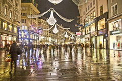 Famous Graben street in Vienna with Christmas decoration by night Stock Image