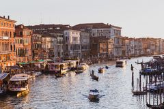 Famous grand canal from Rialto Bridge on sunset in Venice, Italy royalty free stock image
