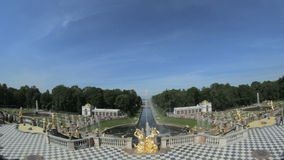 Famous Great Cascade, Samson and the Lion fountain in Peterhof, Saint Petersburg, Russia stock footage