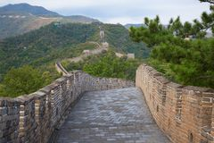 Great Wall. Famous Great Wall of China, section Mutianyu, located nearby Beijing city Royalty Free Stock Images