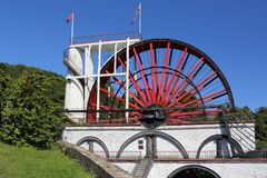 The famous great wheel at laxey Isle of man stock images